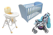 baby equipment, cot, pushchair, highchair